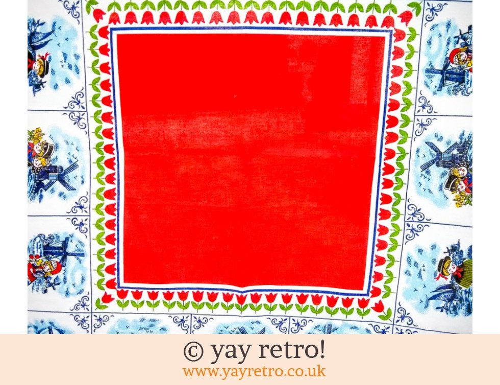 Red Tulips Kitsch Vintage Tablecloth (£9.50)