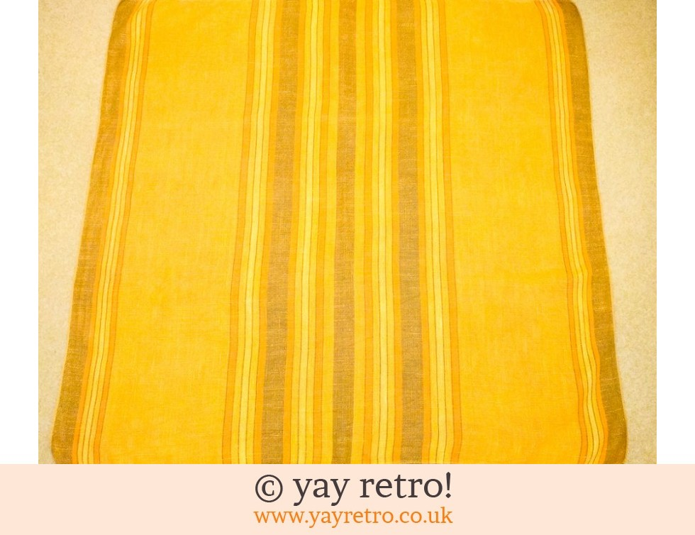 Vintage Quality Linen Stripe Yellow Tablecloth (£15.50)