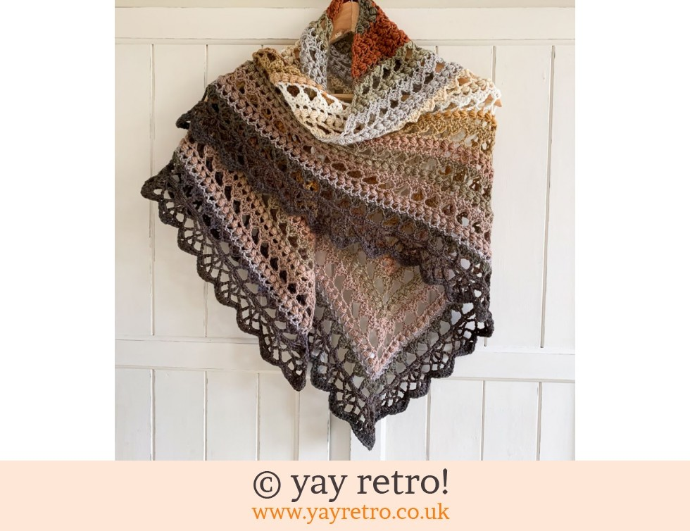 'Earthworks' V for Vintage Crochet Shawl - Buy yay retro Handmade Crochet  online - Arts & Crafts Shop, crochet shawls, wraps, blankets, hot water