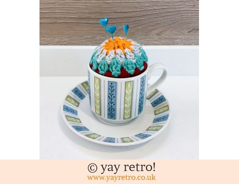 Crochet Pin Cushion in 60/70s Jessie Tait Cup (£10.50)