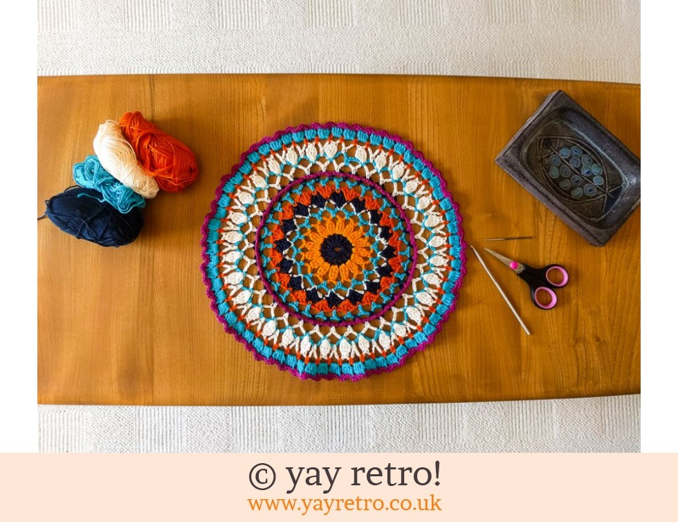 yay retro!: Crochet Sunflower Mandala 35cm (£10.00)