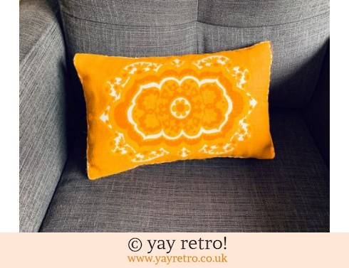 152: Bright Orange Flower Power Cushion 60s fabric! (£20.00)