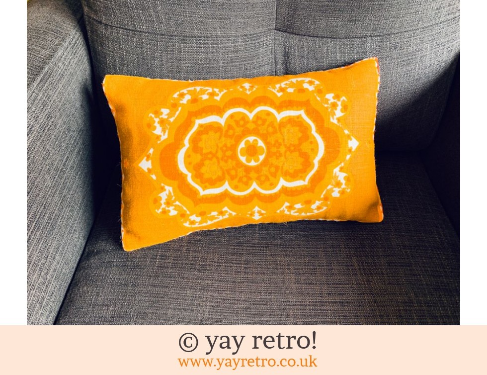 yay retro!: Bright Orange Flower Power Cushion 60s fabric! + 4 Tablemats GAYNOR ONLY (£25.00)