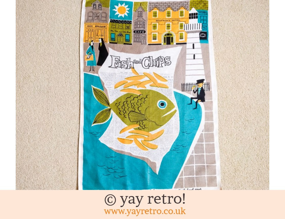1960s Fish & Chips Tea Towel - Rare (£24.50)