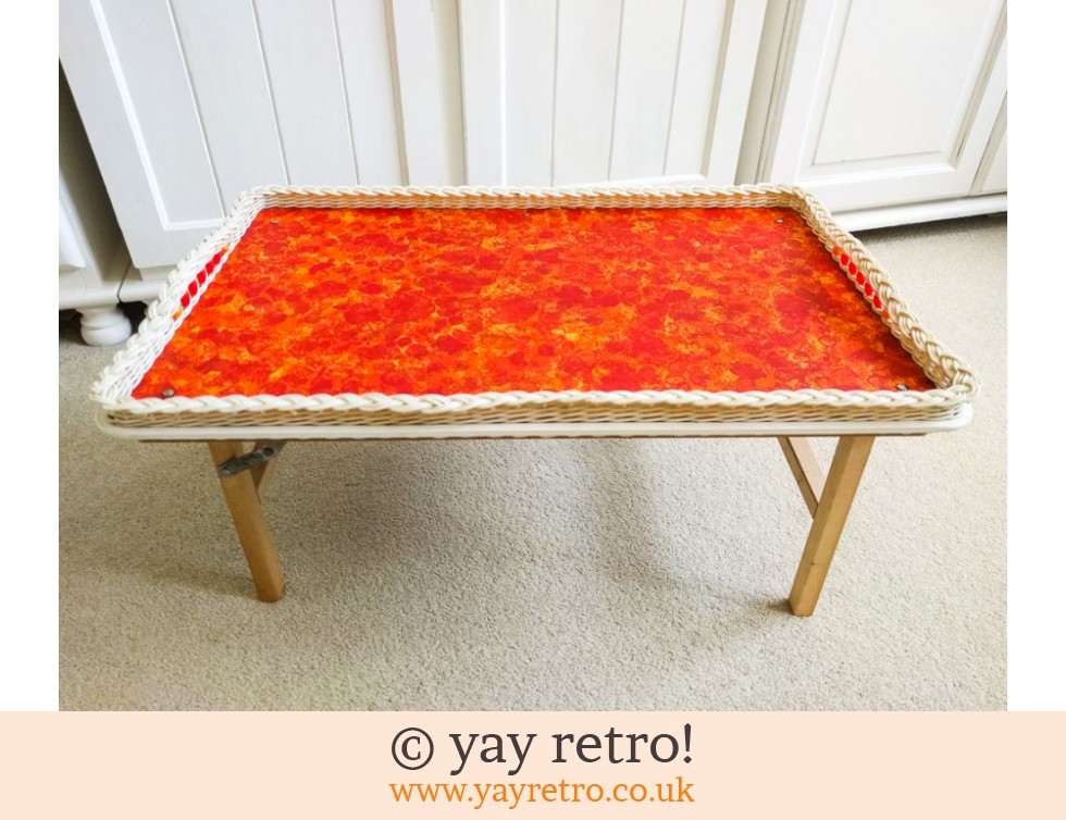 Vintage Orange Flowery Folding Table (£31.00)