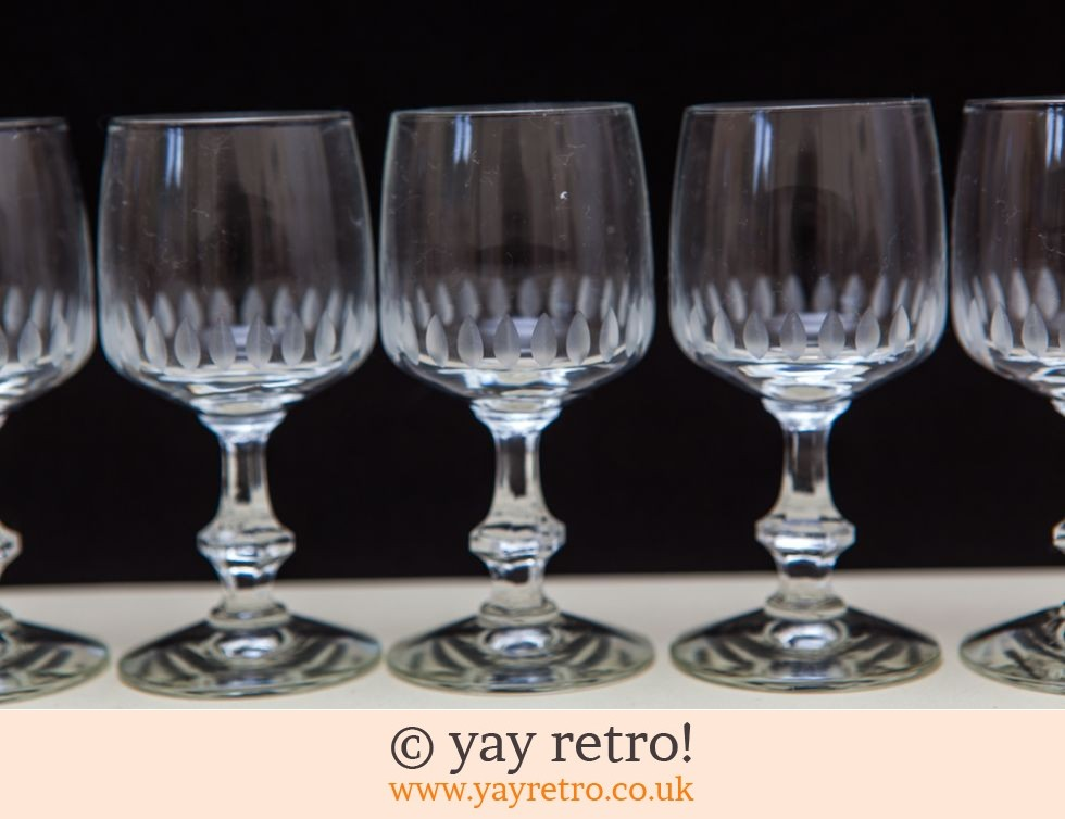 6 Fine Port / Liqueur Glasses 1960s (£12.95)