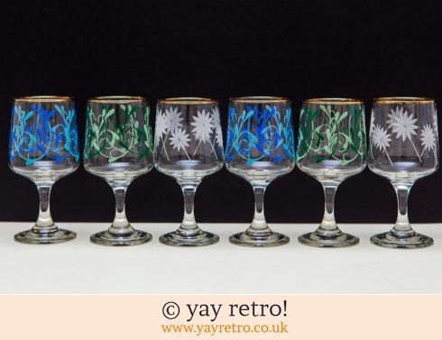433: 6 Stunning Vintage Wine Glasses 1950/60s (£27.50)