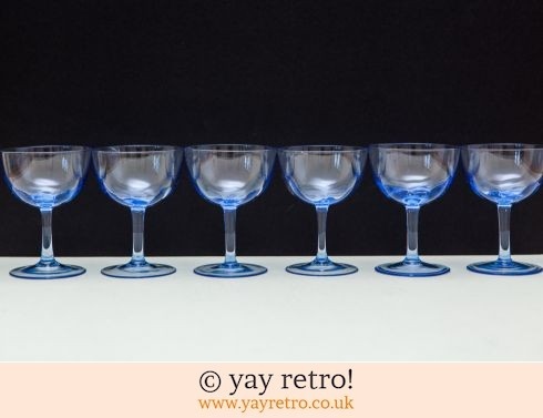 0: 6 Fine Blue Glasses 1930/40s (£19.00)