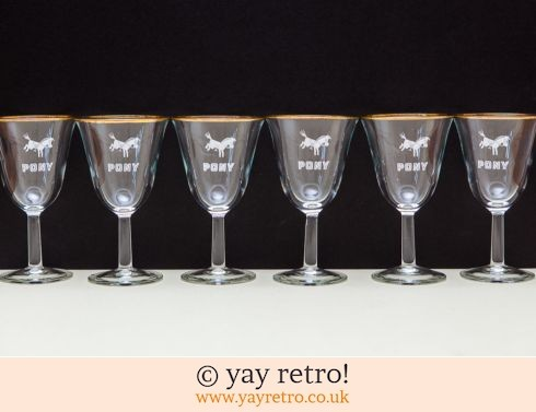 832: 6 Rare 'Pony' Wine Glasses 1960s (£19.00)