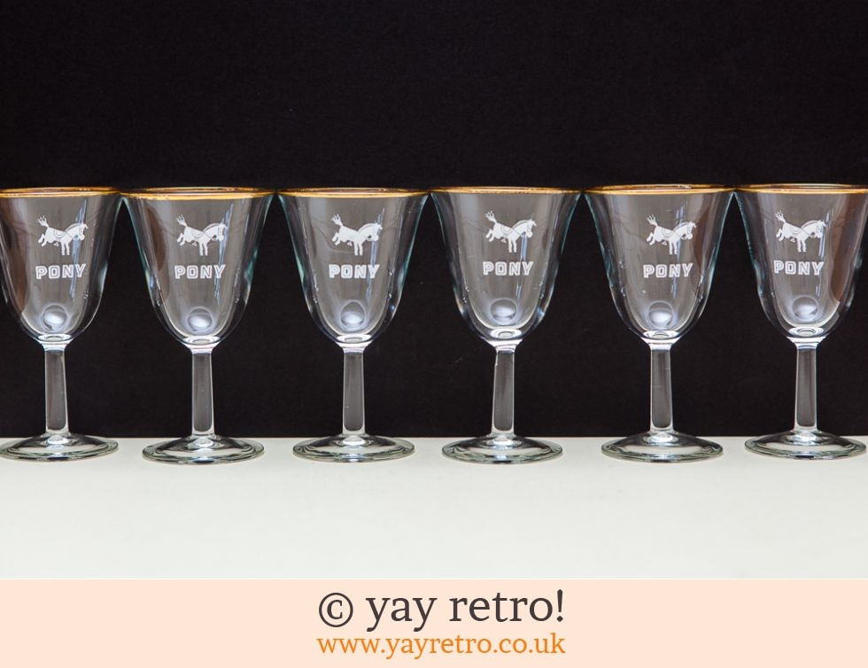 Pony: 6 Rare 'Pony' Wine Glasses 1960s (£19.00)