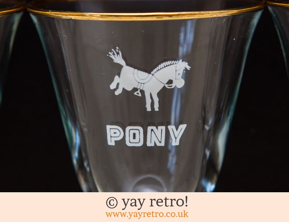 6 Rare 'Pony' Wine Glasses 1960s (£19.00)