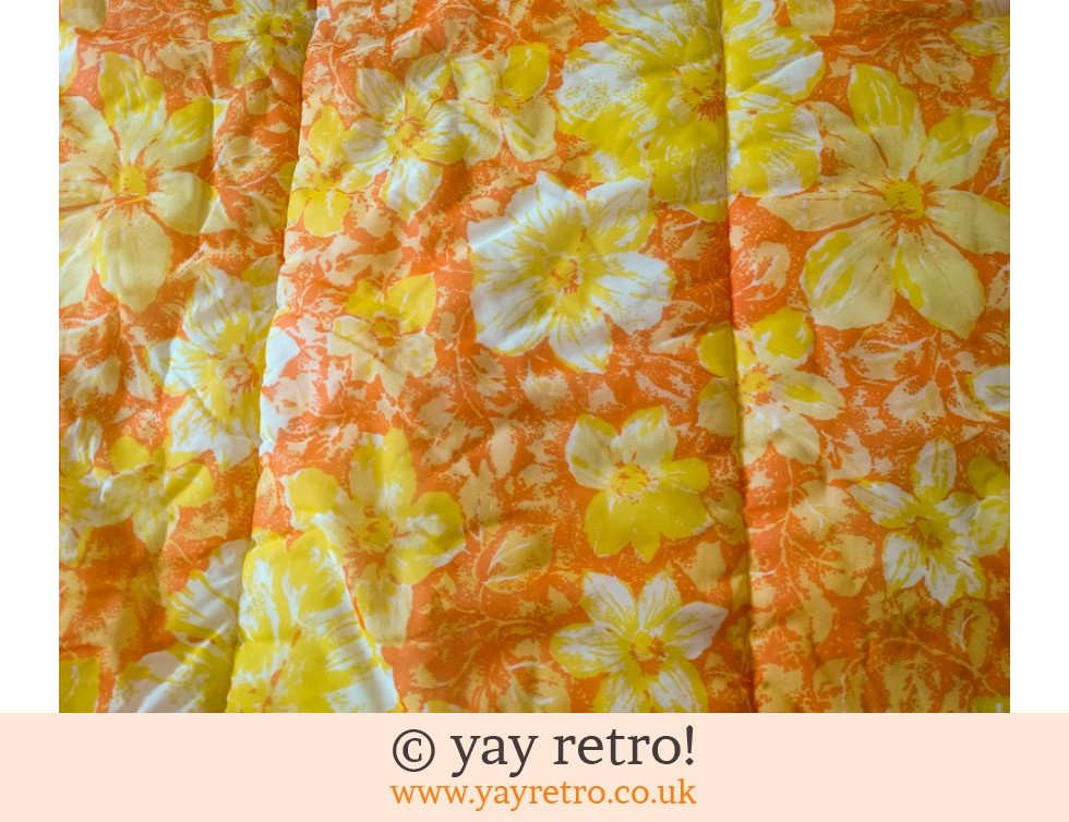 Vintage Double Quilt Orange Flower Power - unused? (£36.50)