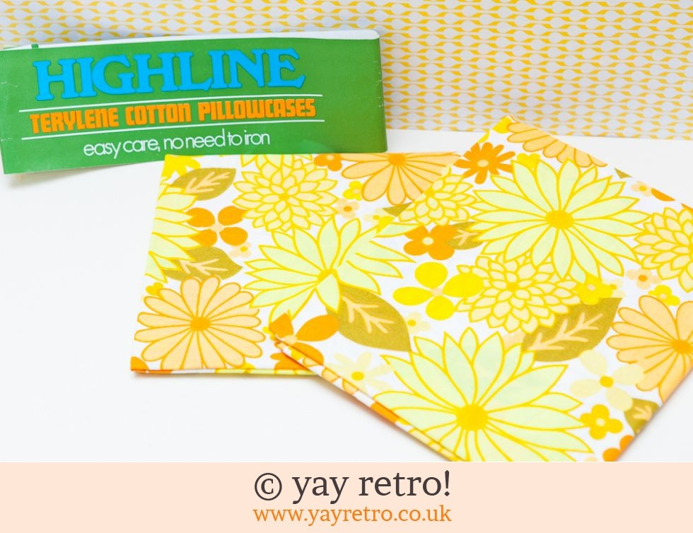 Unused Vintage Flower Power Pillow Cases (£22.50)