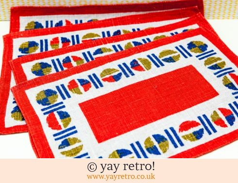 422: 1960/70s Linen Table Mats x 4 Unused (£9.00)