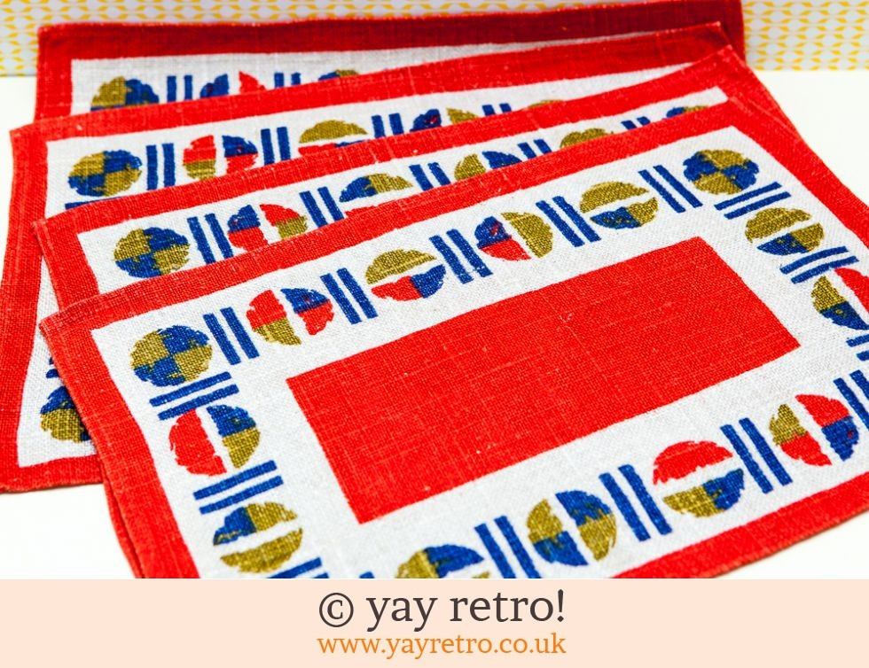 Old Bleach: 1960/70s Linen Table Mats x 4 Unused (£9.00)