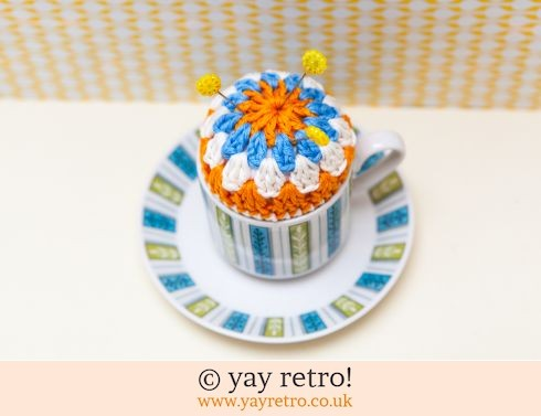 841: Crochet Pin Cushion Jessie Tait Cup & Saucer (£9.00)
