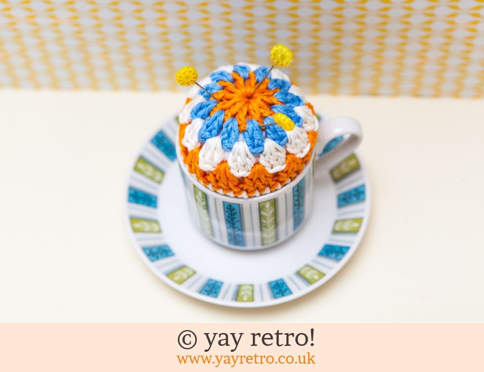 Midwinter & yay retro!: Crochet Pin Cushion Jessie Tait Cup & Saucer (£12.50)