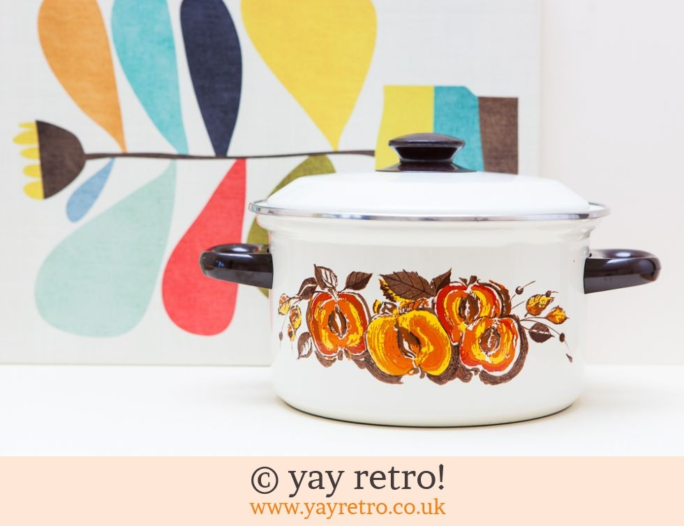 Vintage Orange Apples Enamel Pan (£18.00)