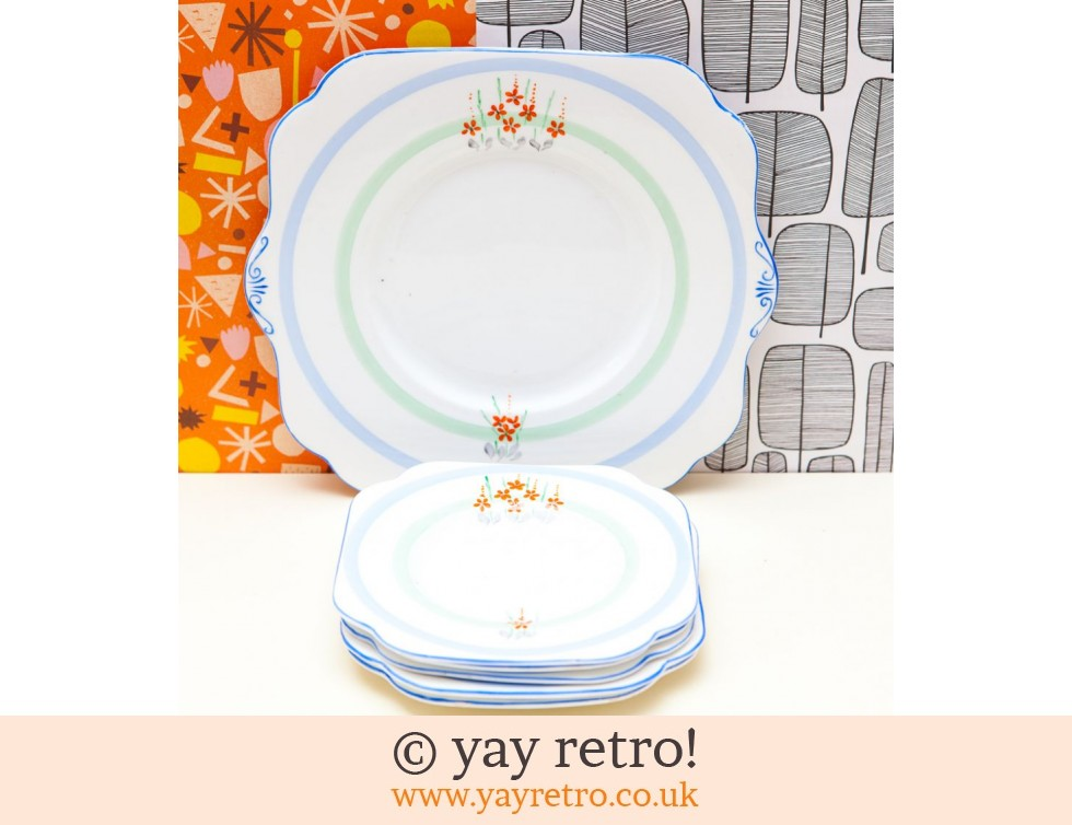 Royal Vale: Stunning Cake Plate Set 1940s Orange Flowers! (£11.00)