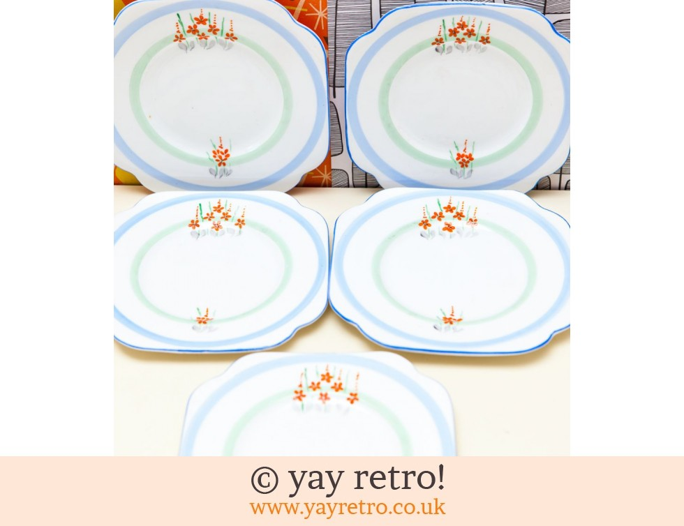 Stunning Cake Plate Set 1940s Orange Flowers! (£11.00)