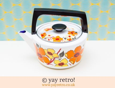 0: Orange Enamel Flower Power 60/70s Kettle (£30.00)