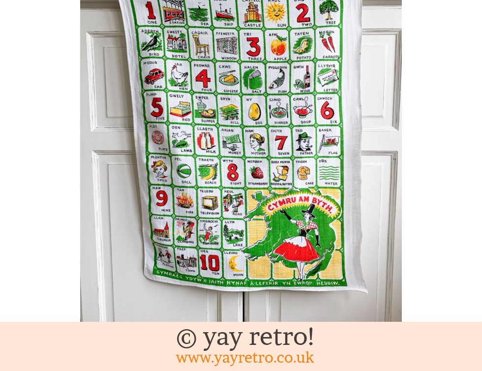 Vintage Welsh Tea Towel - Fab Graphics! (£8.50)