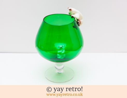 0: Vintage Climbing Cat & Mouse Brandy Glass Vase (£39.00)