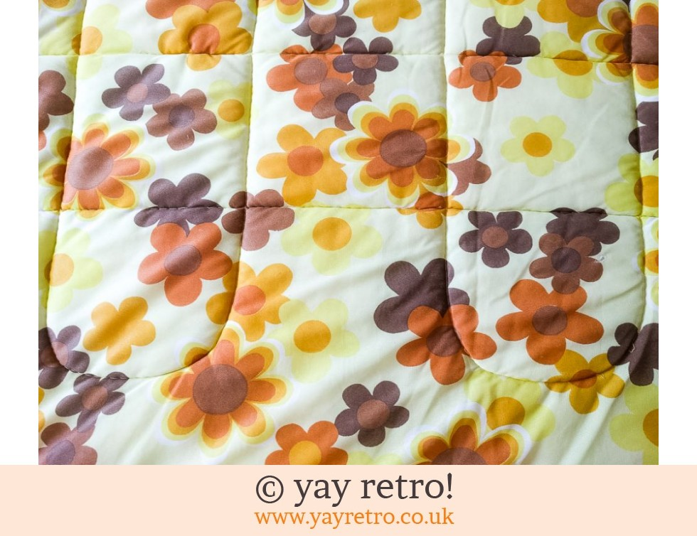 Double Yellow Vintage Flowery Quilt (£28.00)