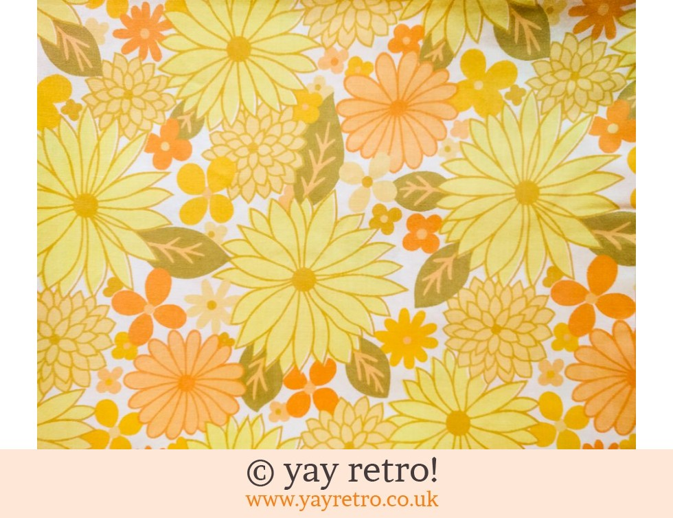 Vintage Yellow Flowery Double Sheet Vintage Shop Retro