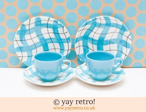 42: 50s Blue Check China Trios (£25.00)