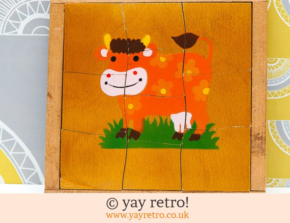 Vintage 60/70s Flower Power Cow Jigsaw (£5.00)