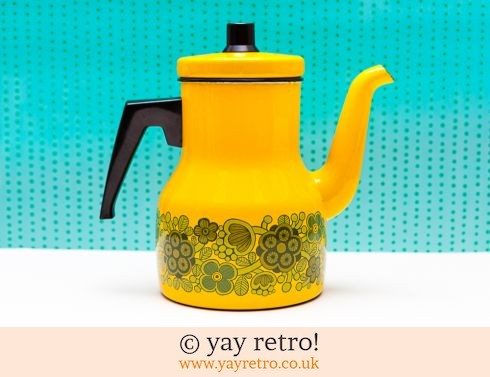 312: Arabia Finland Primavera Yellow Enamel Coffee Pot -  Rare (£50.00)